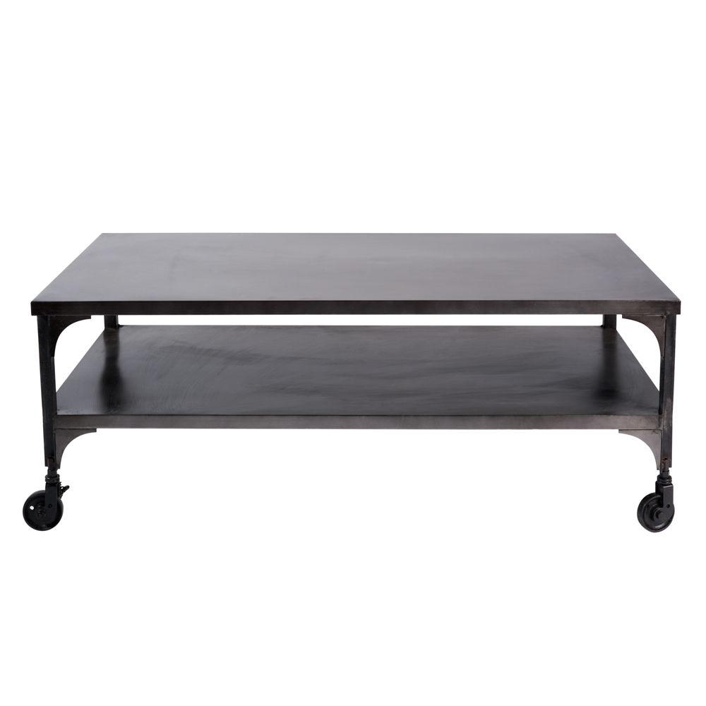 Table basse à roulettes en métal effet vieilli L 110 cm Dupleix ...