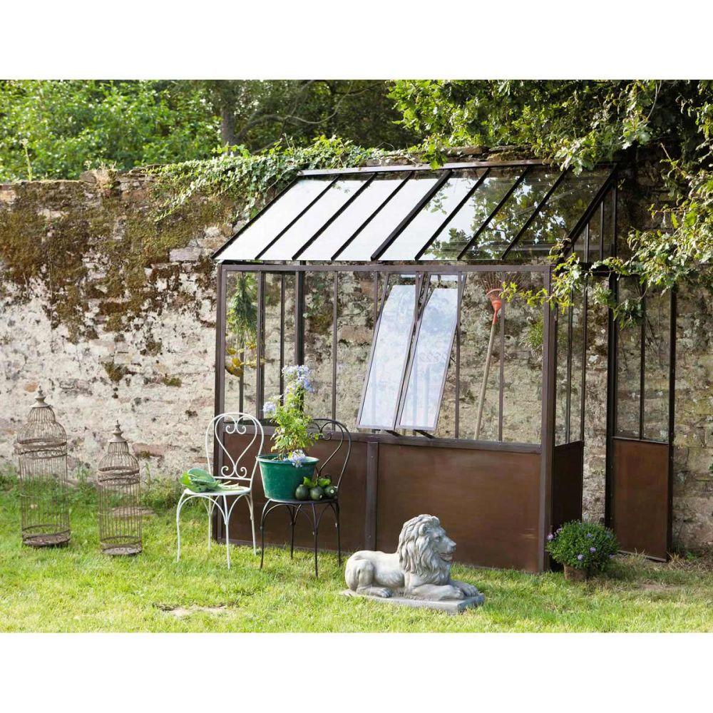Demi serre en m tal effet rouille h 245 cm tuileries maisons du monde - Demi serre de jardin ...