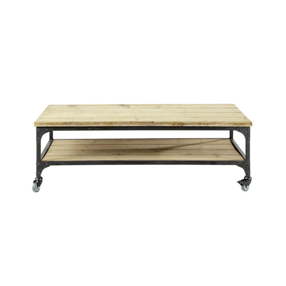 table basse indus roulettes en bois et mtal l cm gallieni maisons du monde with table clic clac. Black Bedroom Furniture Sets. Home Design Ideas