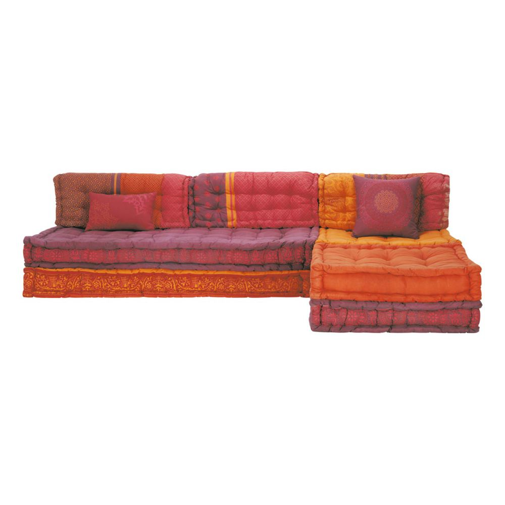 banquette d 39 angle modulable 6 places en coton orange et