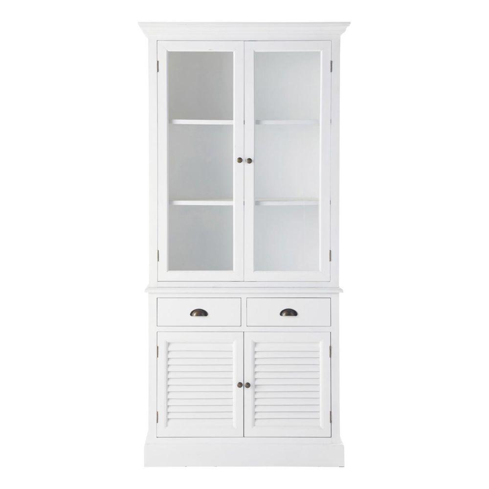 Vaisselier en bois blanc l 95 cm barbade maisons du monde - Meuble vaisselier blanc ...