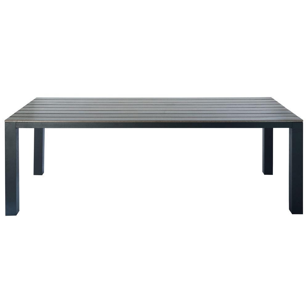 Table de jardin en composite imitation bois et aluminium grise l 230 cm escal - Table de jardin en composite ...