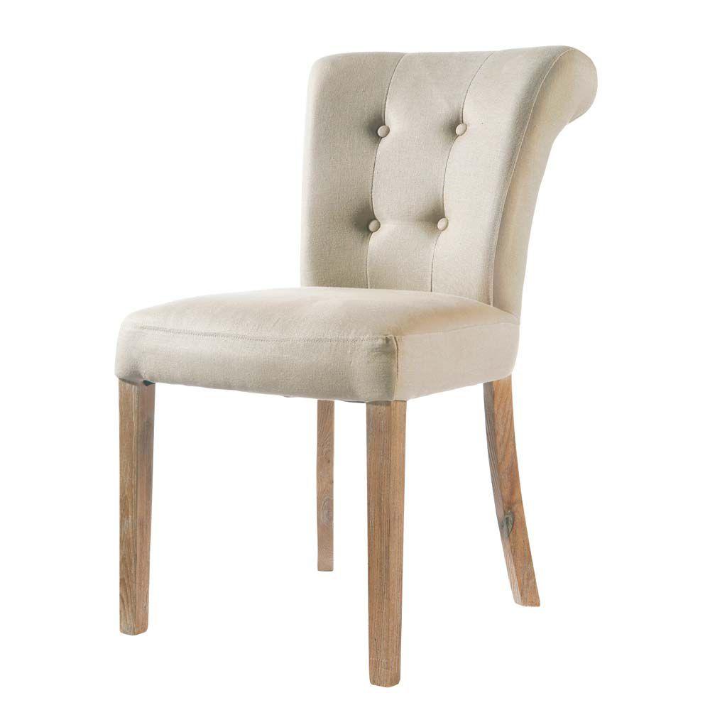 Chaise lin capitonn e boudoir maisons du monde for Le monde de la chaise