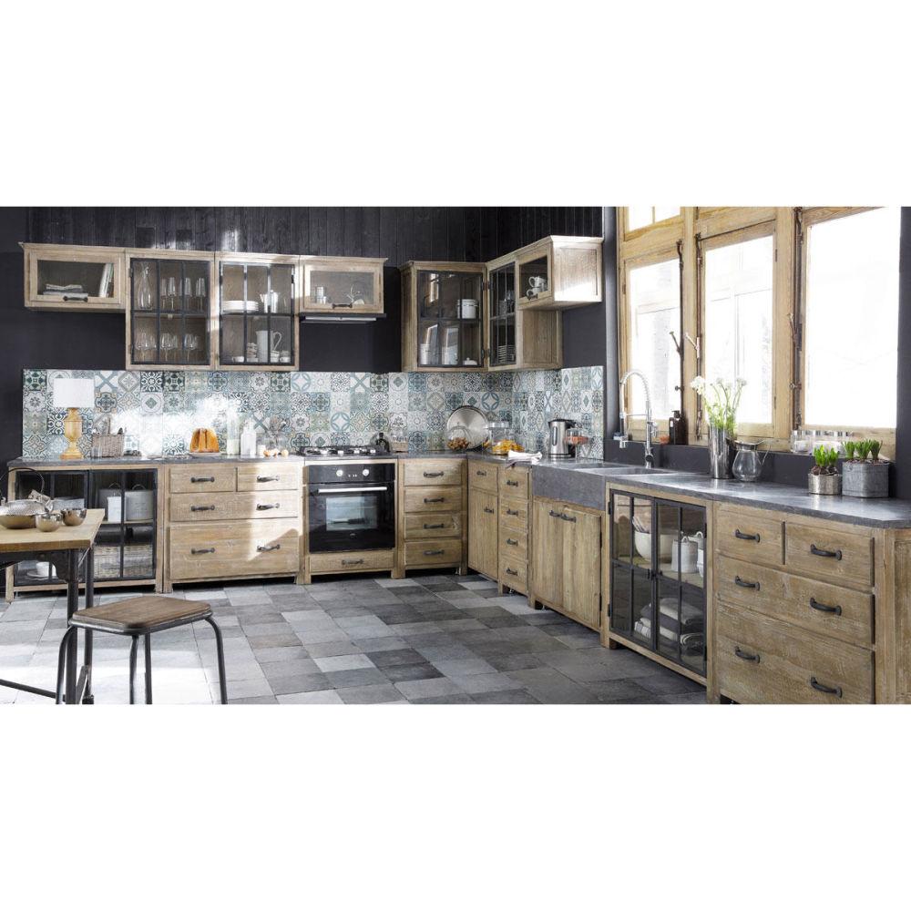 Meuble bas de cuisine en bois recycl l 120 cm copenhague - Meuble cuisine bois recycle ...
