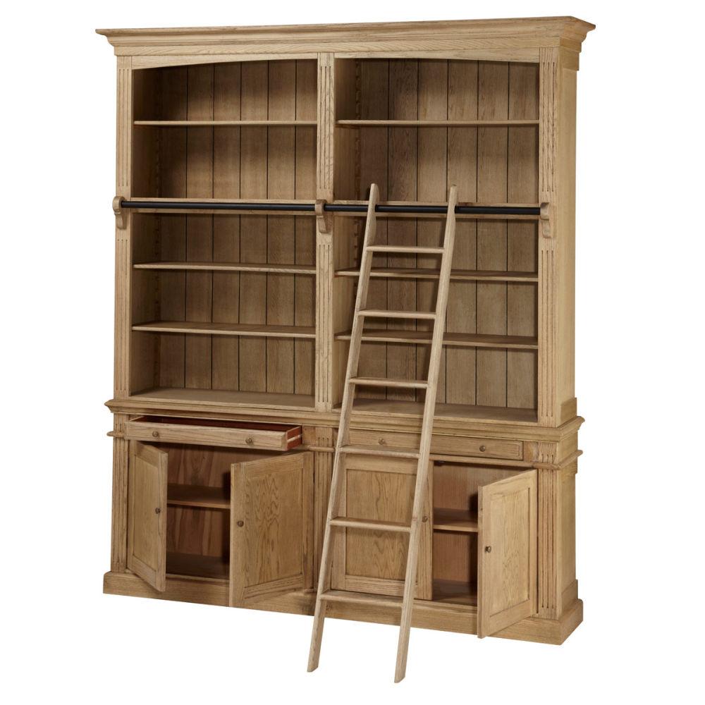biblioth que en ch ne massif l 200 cm atelier maisons du monde. Black Bedroom Furniture Sets. Home Design Ideas