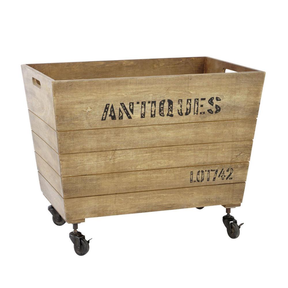 Caisse roulettes en bois 46 x 71 cm antiquit maisons du monde - Caisse en bois sur roulettes ...