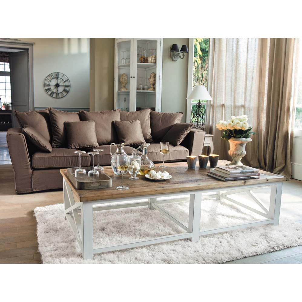 Table basse en bois recycl l 160 cm sologne maisons du - Table de salon maison du monde ...