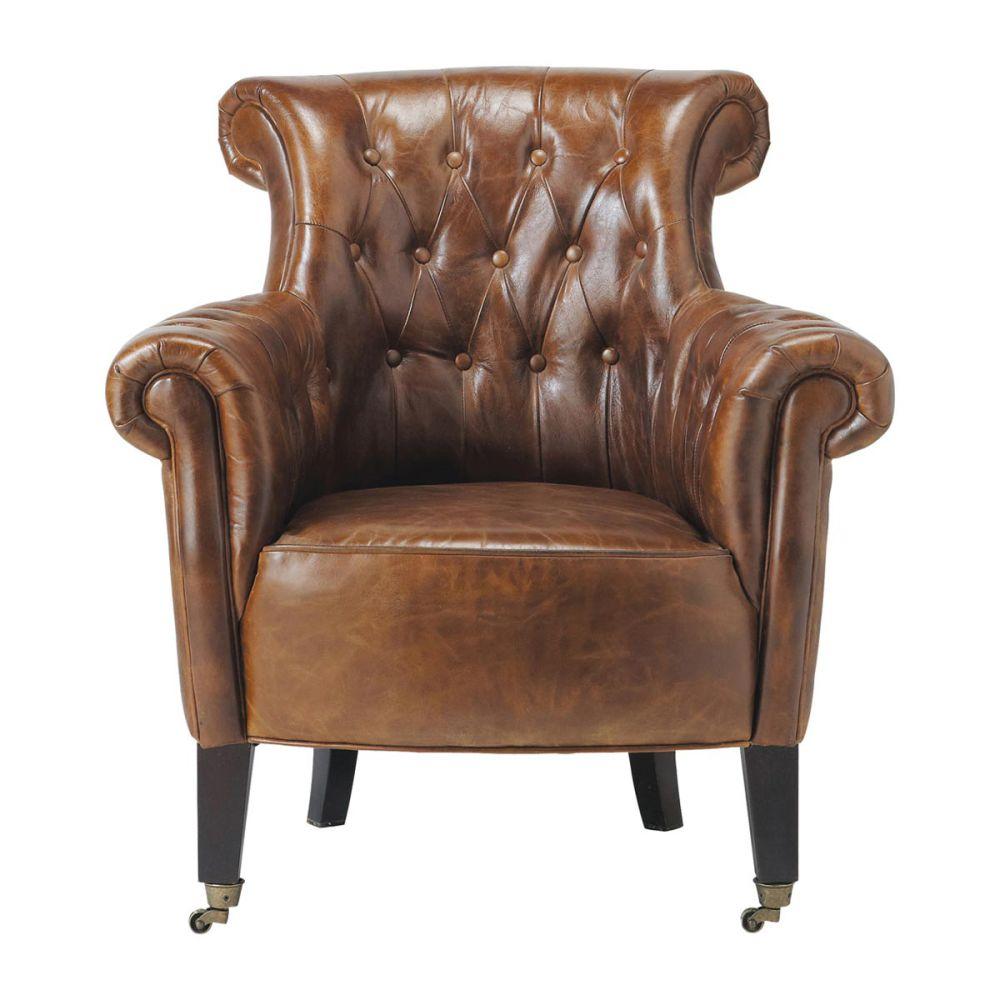 Fauteuil capitonn roulettes en cuir marron james for Fauteuil ergonomique de salon