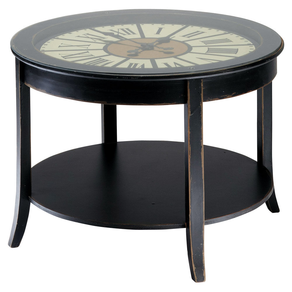 Table basse horloge en bois noire l 72 cm teatime maisons du monde for Grande table du monde