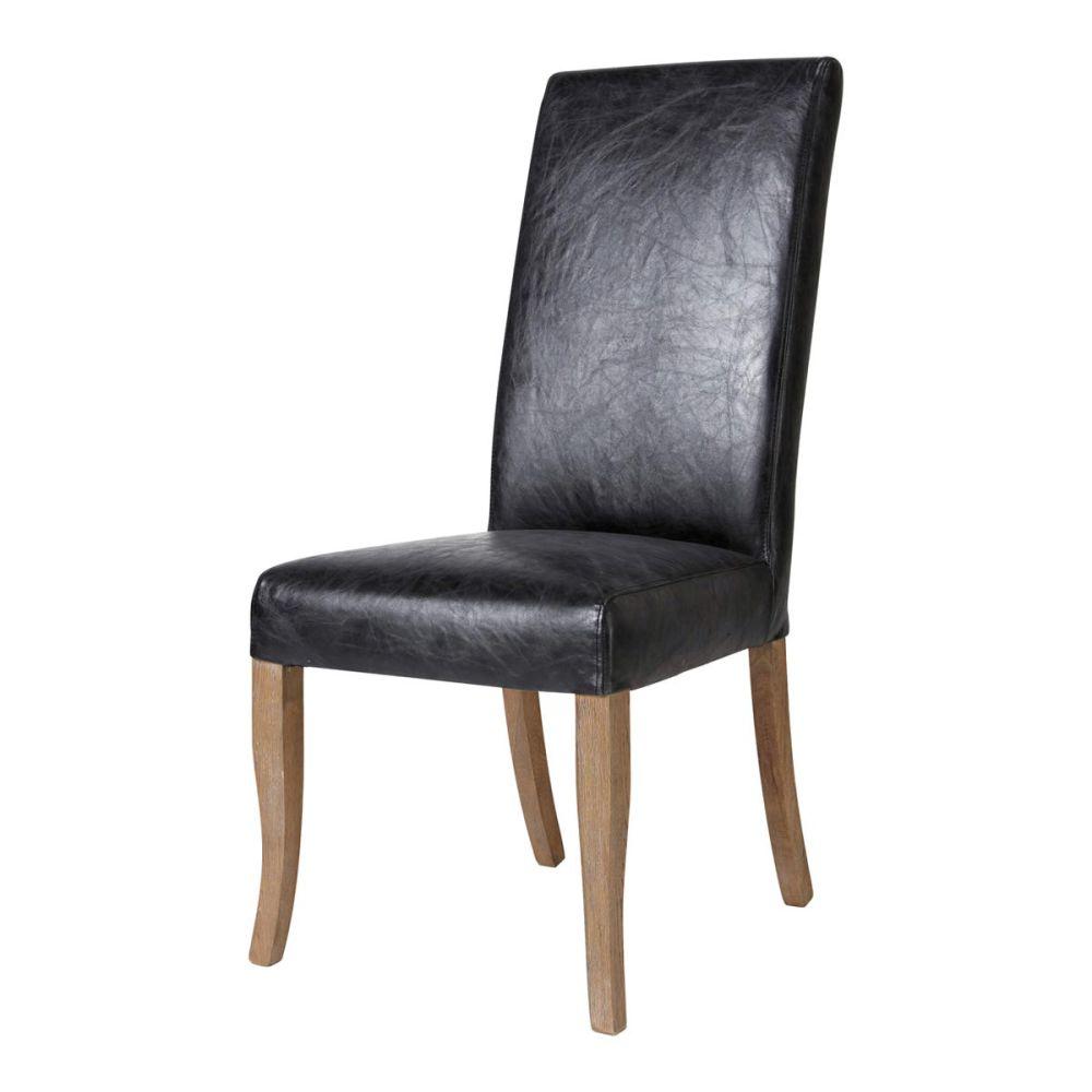 Chaise en cuir et ch ne massif noire vintage maisons du for Chaise cuir noir