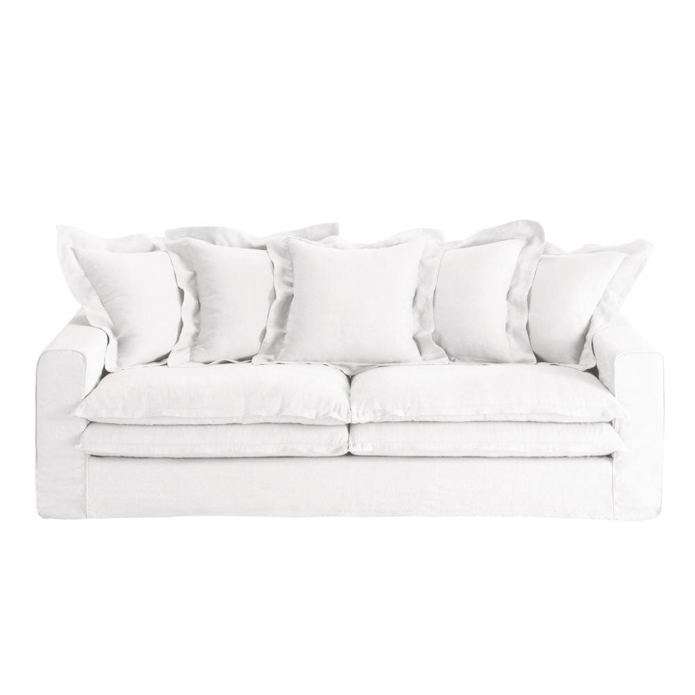 Canap 3 4 places en lin blanc lisbonne maisons du monde - Canape 3 places fixe ...