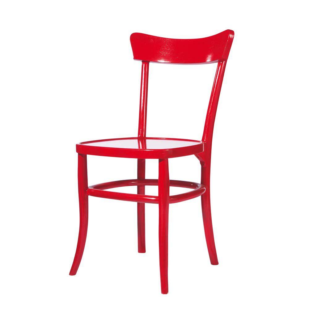 Chaise en bois massif rouge bistrot maisons du monde for Chaise de cuisine style bistrot