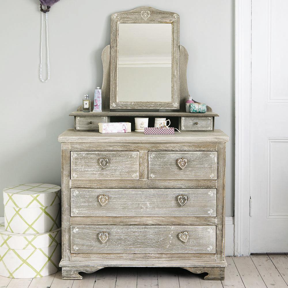 Coiffeuse en bois de paulownia gris e l 95 cm camille for Coiffeuse blanche maison du monde