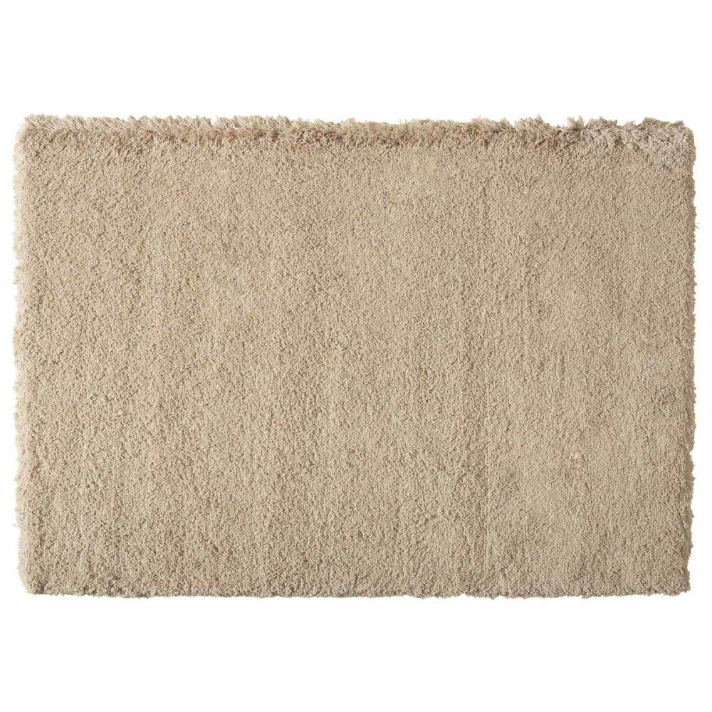 tapis poils longs en tissu beige 140 x 200 cm inuit. Black Bedroom Furniture Sets. Home Design Ideas