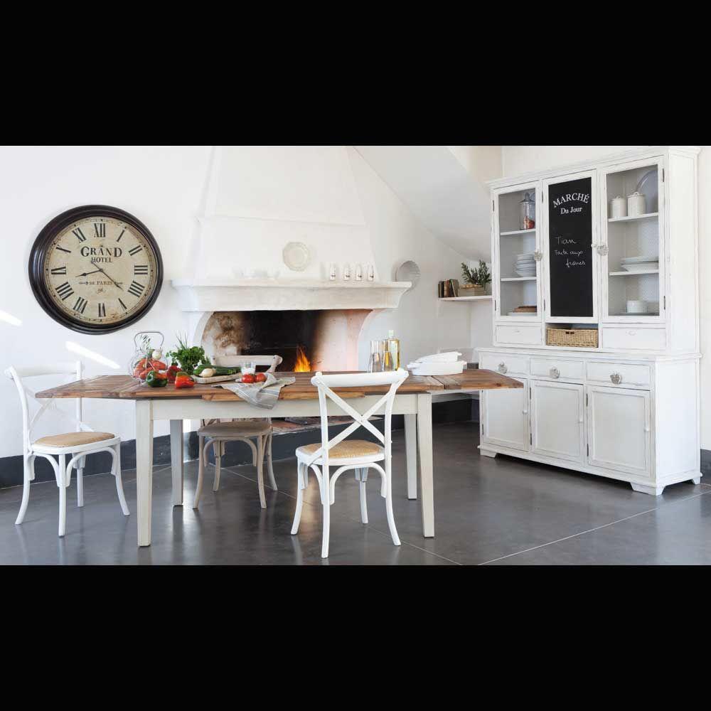 cocina blanca mesa madera