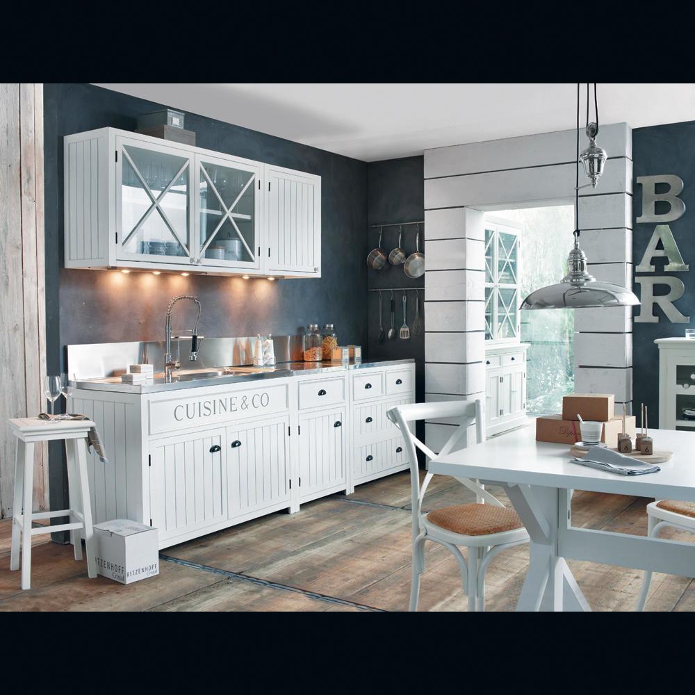 Table de salle manger en bois blanche l 200 cm - Table haute cuisine maison du monde ...