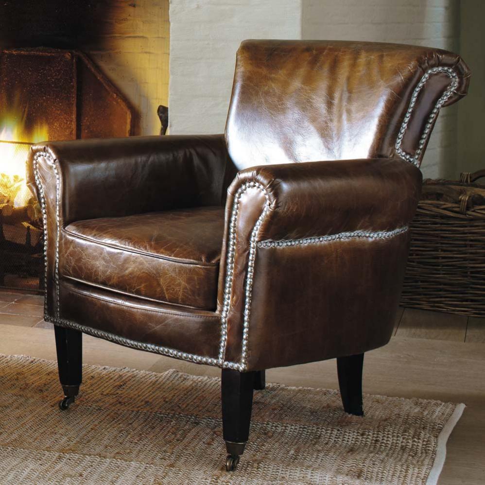 fauteuil en cuir marron effet vieilli cambridge maisons. Black Bedroom Furniture Sets. Home Design Ideas