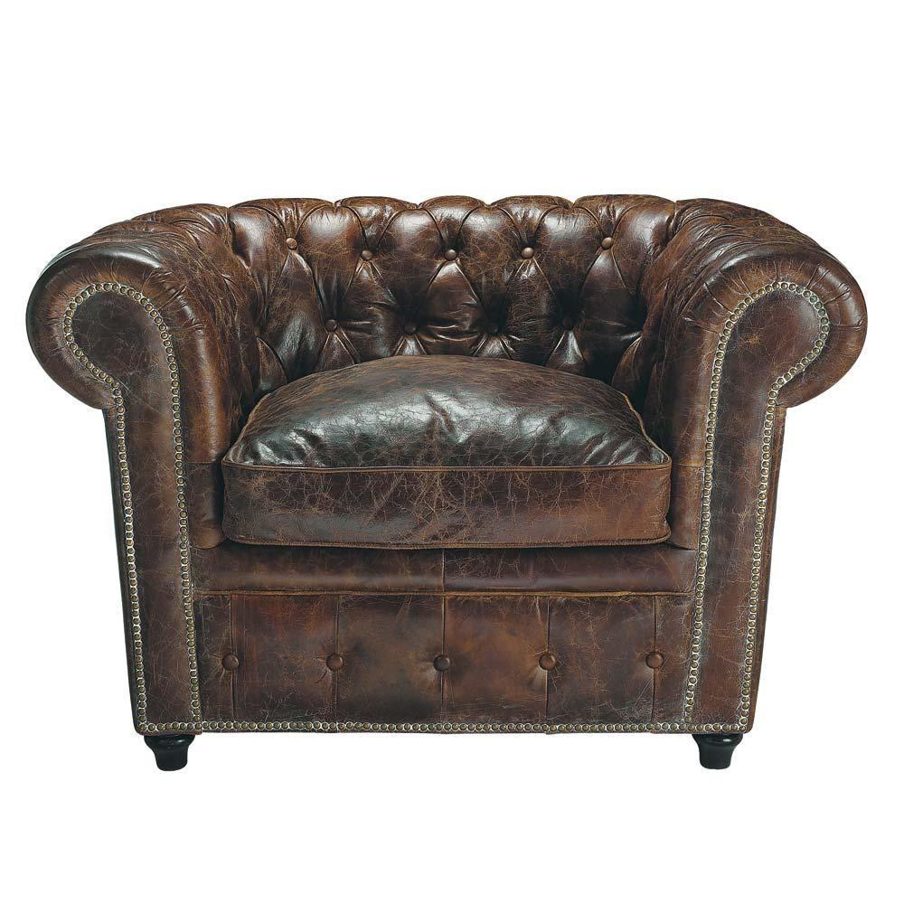 fauteuil capitonn chesterfield en cuir marron vintage. Black Bedroom Furniture Sets. Home Design Ideas