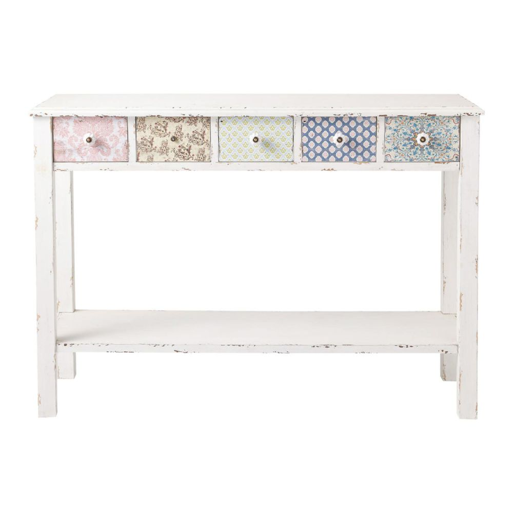 Table console blanche c lestine maisons du monde - Table console blanche ...