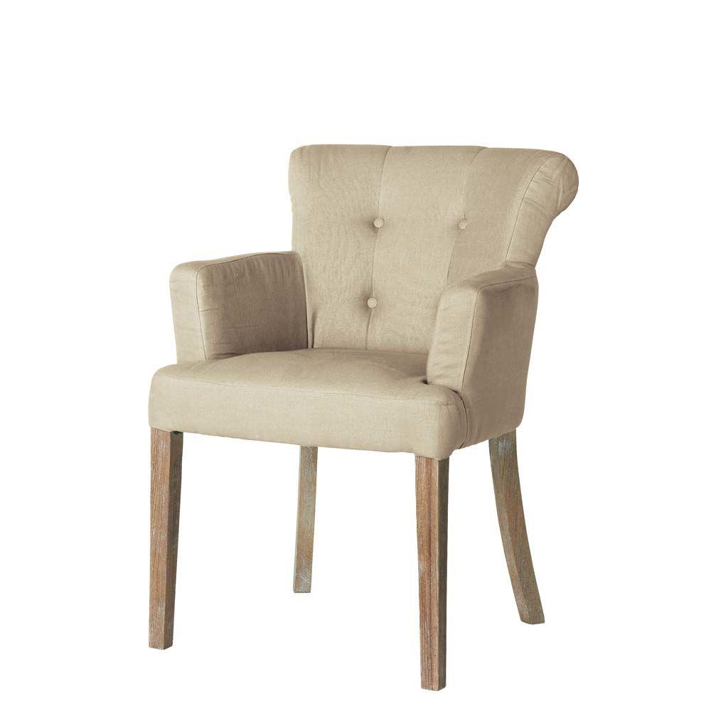fauteuil lin boudoir maisons du monde. Black Bedroom Furniture Sets. Home Design Ideas