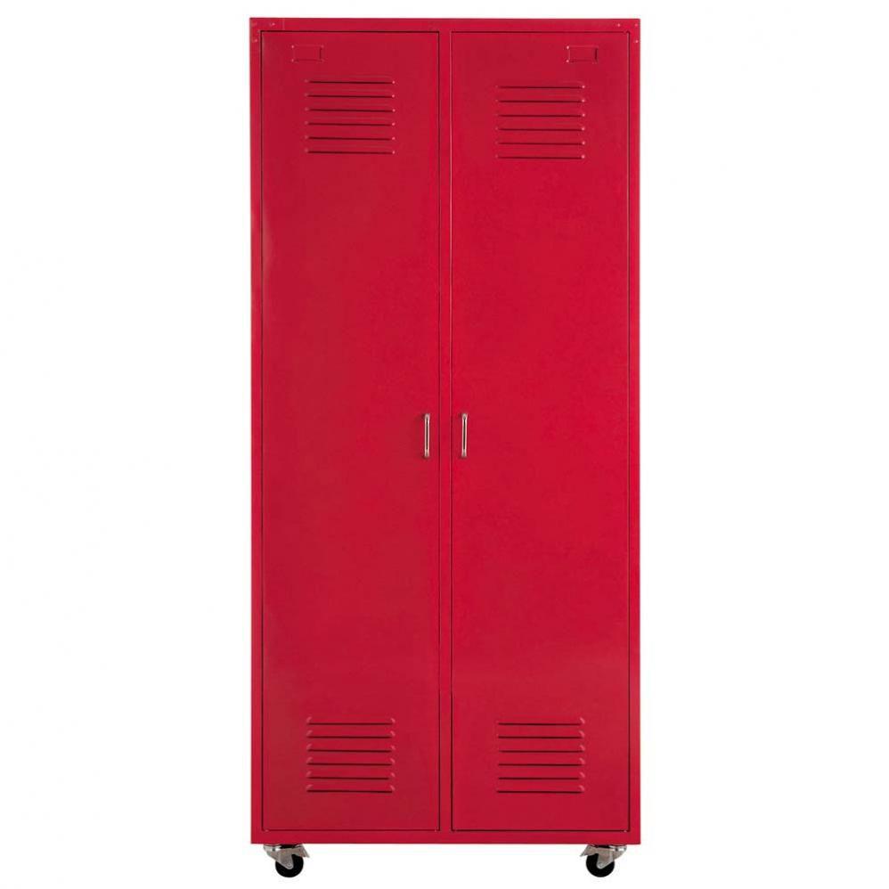 Dressing vestiaire à roulettes en métal rouge L 85 cm Loft ...