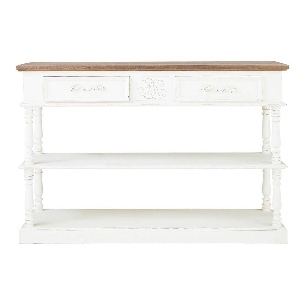 Drapier en manguier blanc l 130 cm montpensier maisons du monde - Meuble console blanche ...