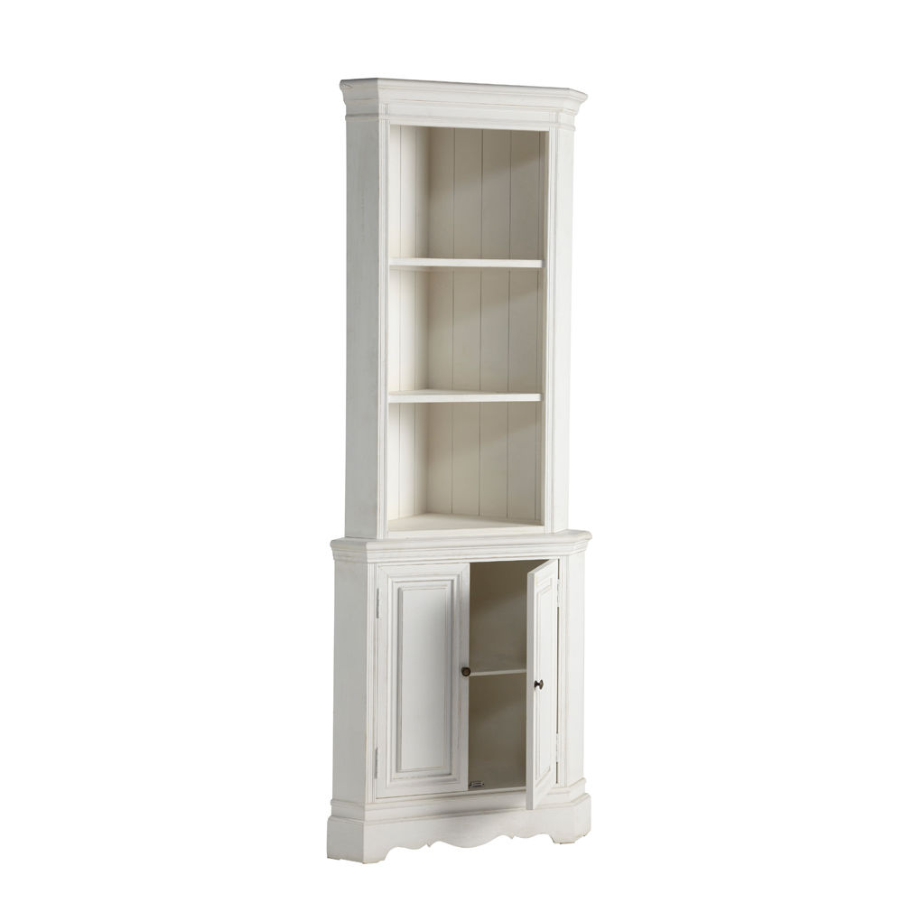 meuble d 39 angle en bois de paulownia blanc l 73 cm. Black Bedroom Furniture Sets. Home Design Ideas