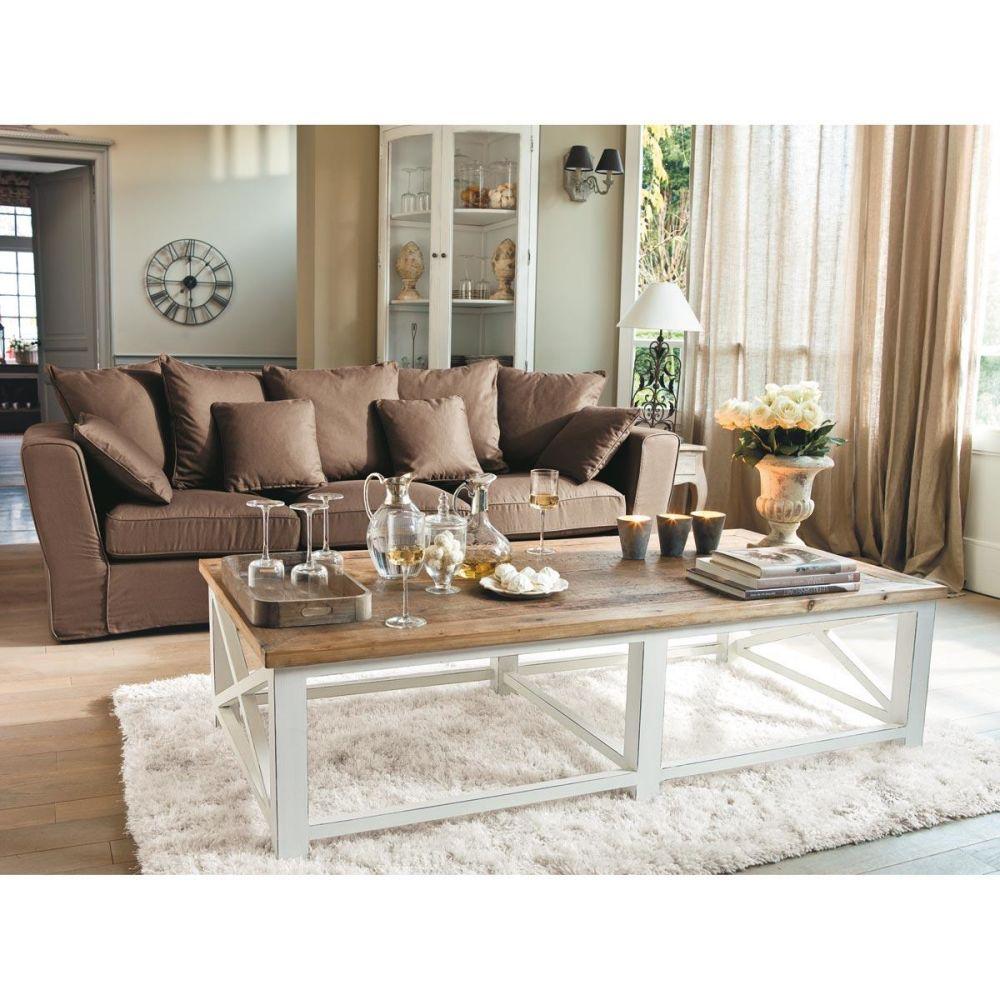 Meuble d 39 angle en bois blanc l 68 cm sologne maisons du monde - Maison du monde table basse de salon ...