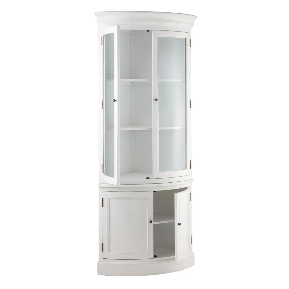 Meuble d 39 angle en bois blanc l 68 cm sologne maisons du - Meuble bibliotheque d angle ...