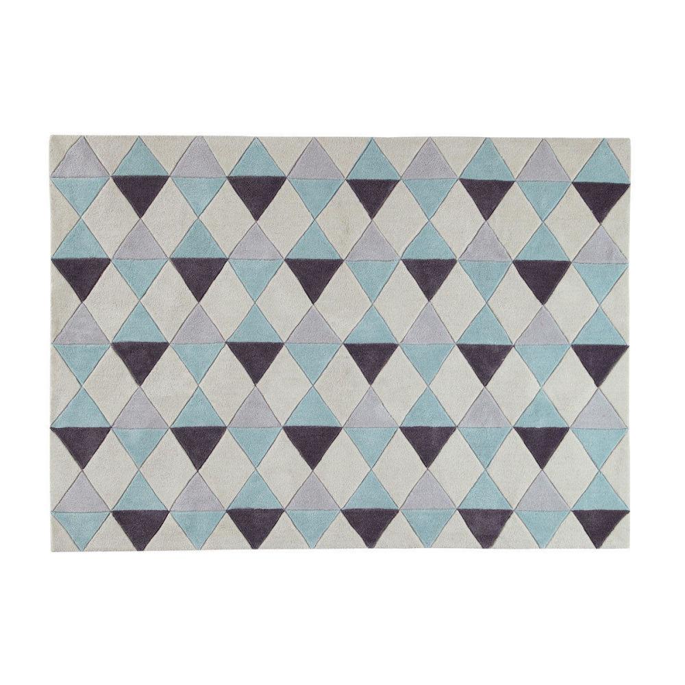 Tapis poils courts en tissu bleu 140 x 200 cm nordic - Tapis enfant maison du monde ...