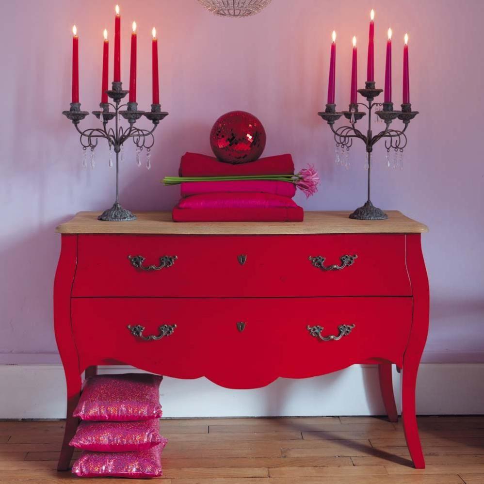 commode en bouleau rouge l 120 cm haute couture maisons du monde. Black Bedroom Furniture Sets. Home Design Ideas