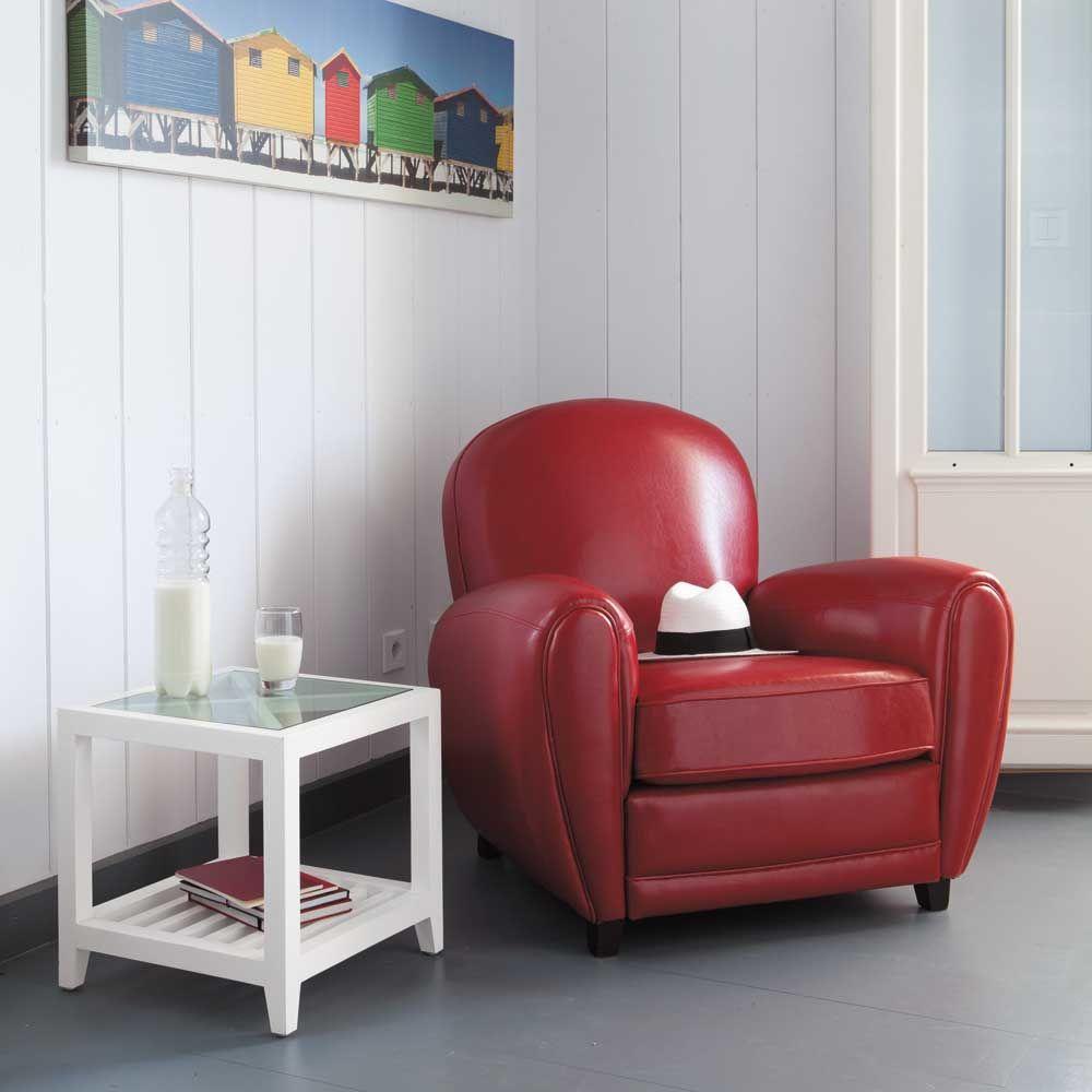 Canape En Bois Blanc : Bout de canap? en bois blanc L 40 cm Atlantique Maisons du Monde