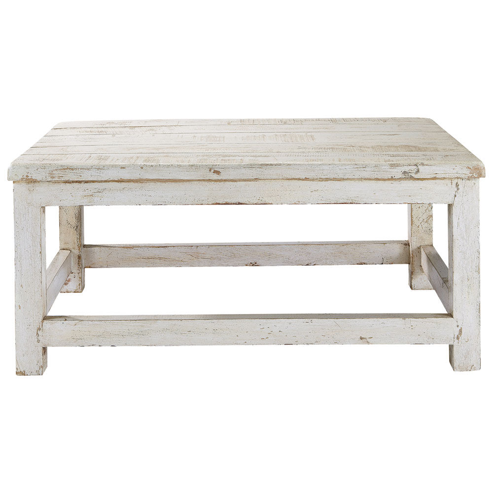 Table basse en manguier blanc vieilli l 90 cm avignon for Table en bois et banc