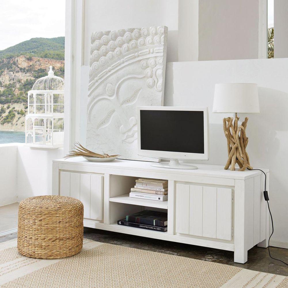 Meuble tv en bois massif blanc l 145 cm white maisons du monde - Meuble tv bord de mer ...
