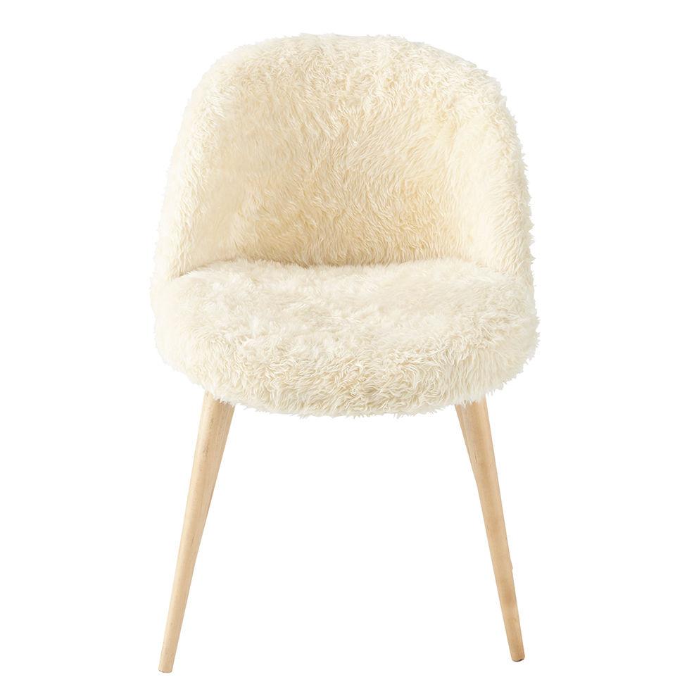BE fr produits fiche chaise vintage fausse fourrure et bouleau massif ivoire mauricette
