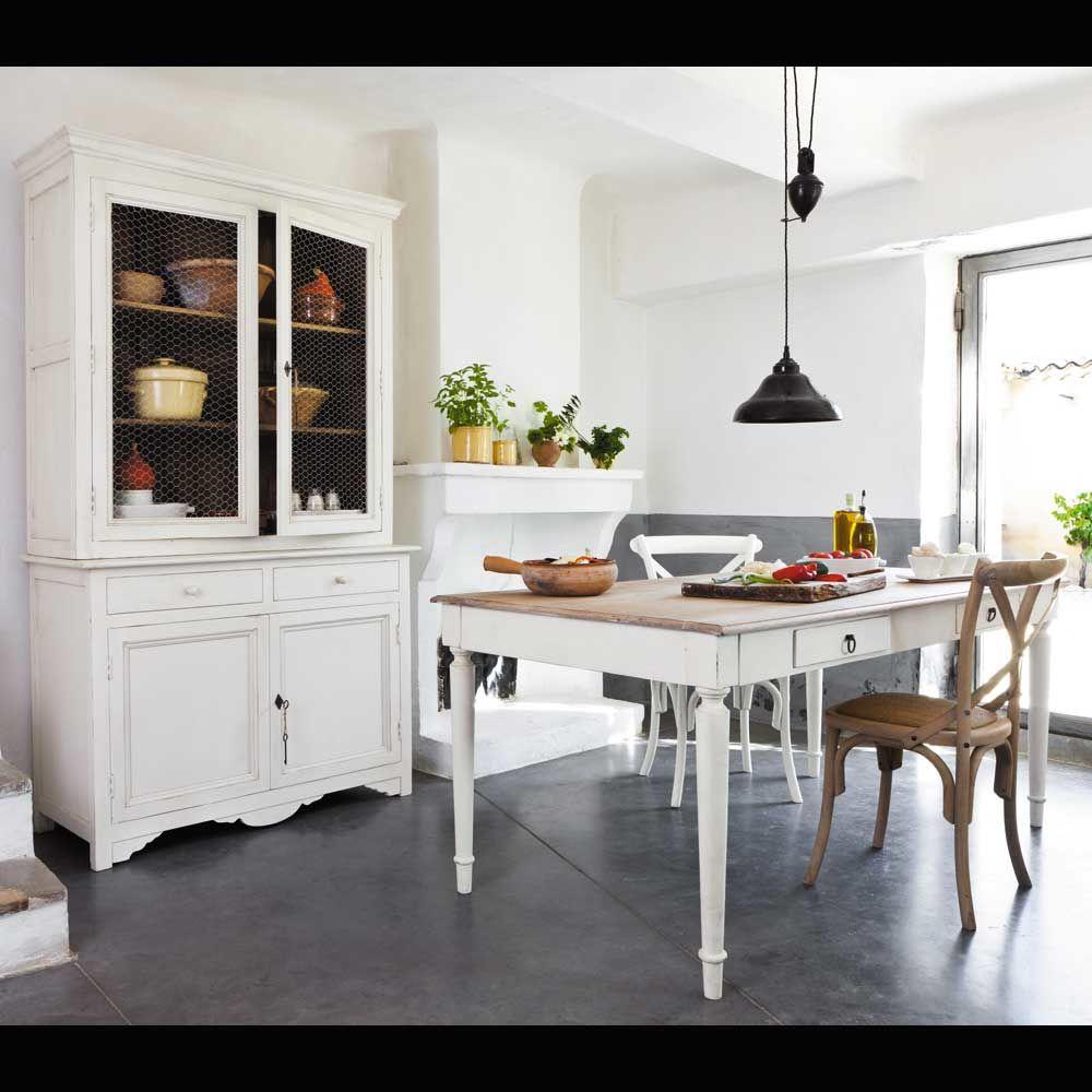 Cocina blanca mesa madera decorar tu casa es - Mesa cocina con sillas ...