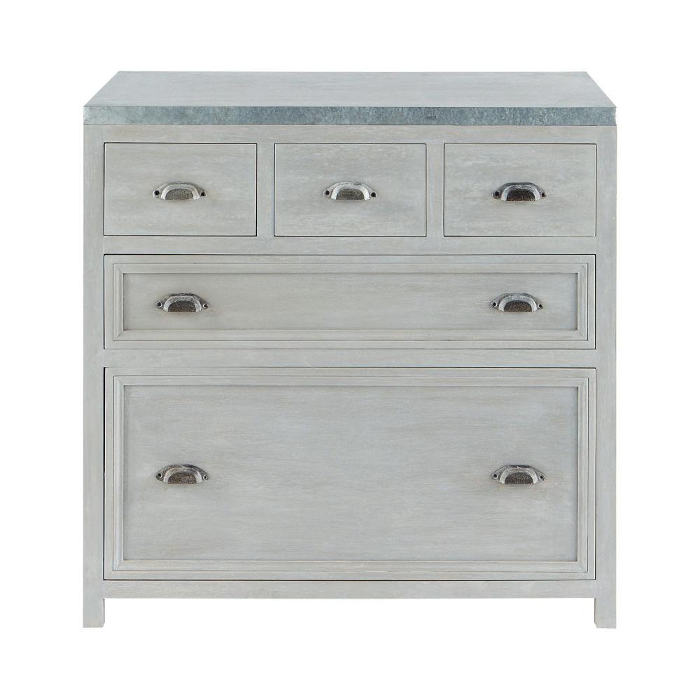 fabulous meuble bas de cuisine en bois duacacia gris l cm. Black Bedroom Furniture Sets. Home Design Ideas
