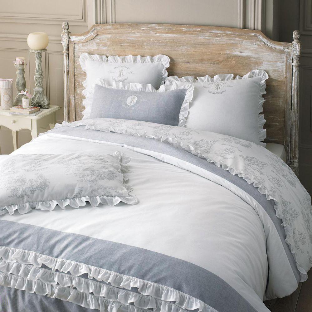 parure de lit 240 x 260 cm en coton blanche raphael. Black Bedroom Furniture Sets. Home Design Ideas