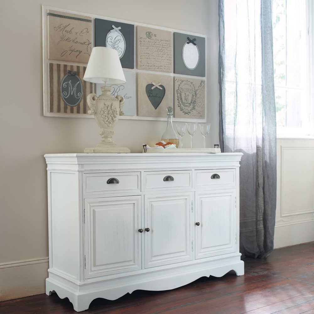 Buffet en bois de paulownia blanc l 131 cm jos phine maisons du monde - Meuble tv josephine maison du monde ...