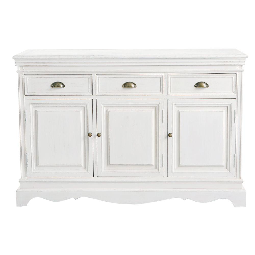 Buffet en bois de paulownia blanc l 131 cm jos phine for Meuble josephine maison du monde