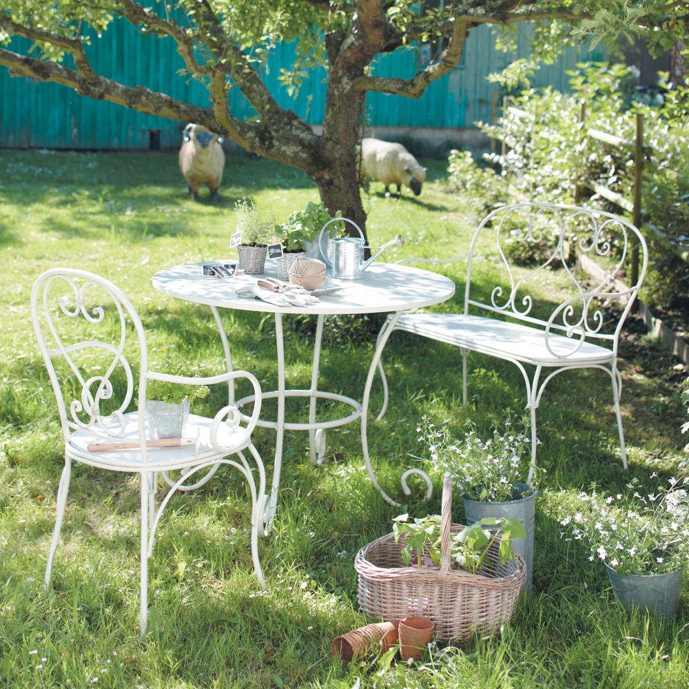 Table de jardin ronde ivoire saint germain maisons du monde - Table jardin balcon saint paul ...