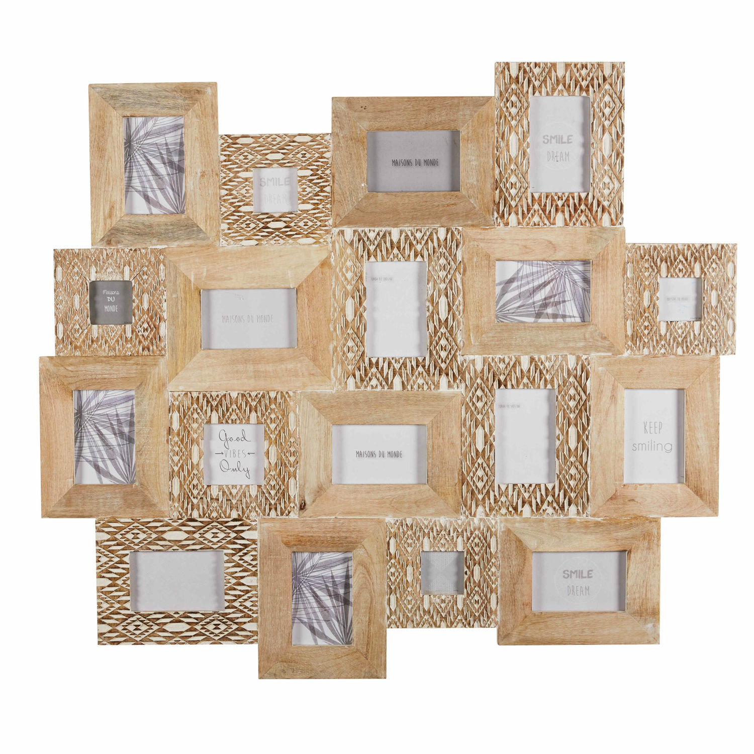 18 Opening Collage Frame In Sculpted And Bleached Mango Wood 103 X 91 Cm Bora Maisons Du Monde