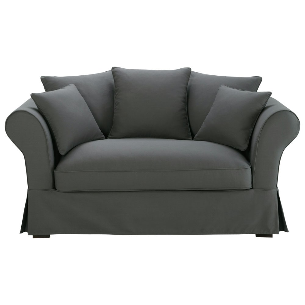 2 3 seater cotton sofa in slate grey roma maisons du monde. Black Bedroom Furniture Sets. Home Design Ideas