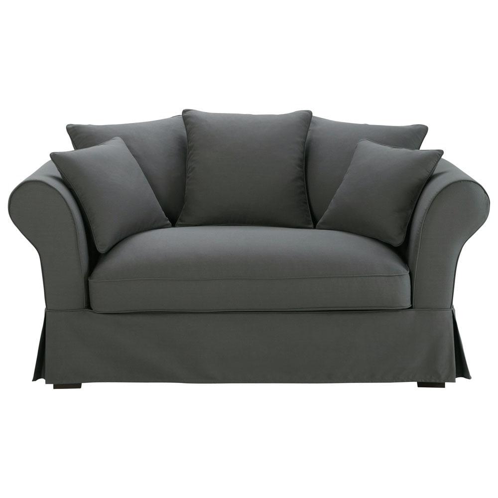 2 3 seater cotton sofa in slate grey roma maisons du monde. Black Bedroom Furniture Sets. Home Design Ideas