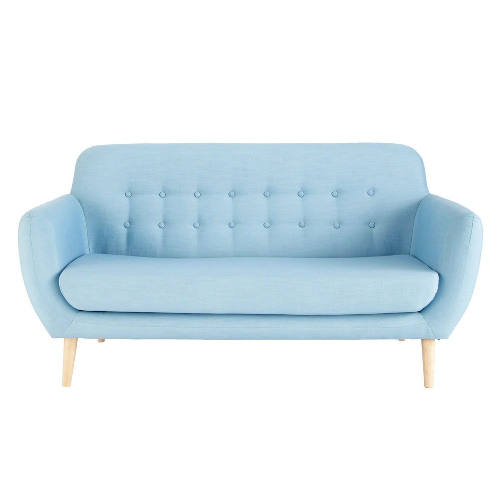23 Seater Fabric Vintage Sofa In Blue Iceberg Maisons