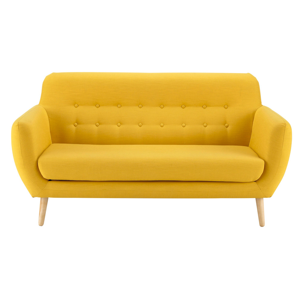 2 3 seater fabric vintage sofa in yellow iceberg maisons for Sofa lit cuir