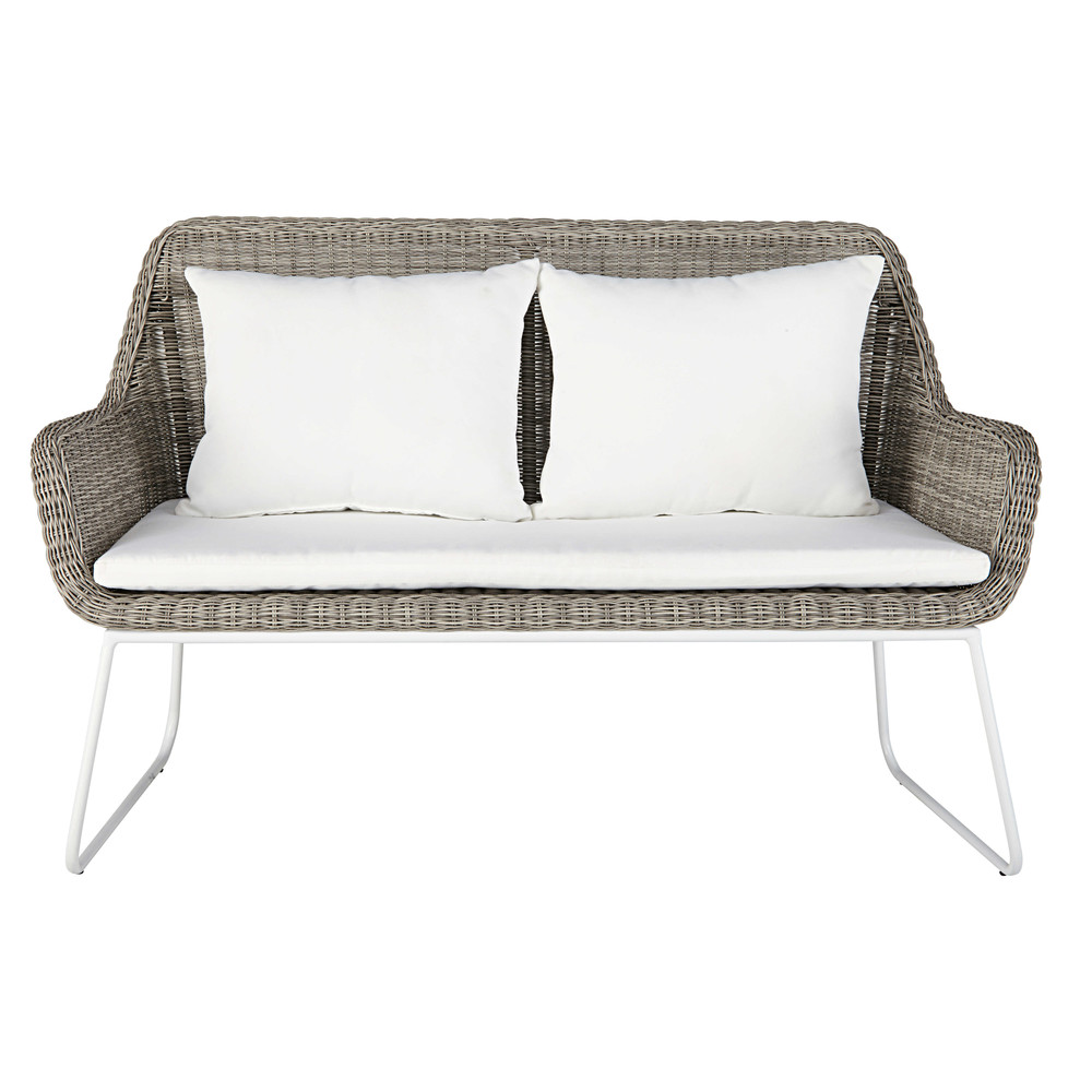 2/3 Seater Garden Bench In Grey Resin Wicker With White Cushions