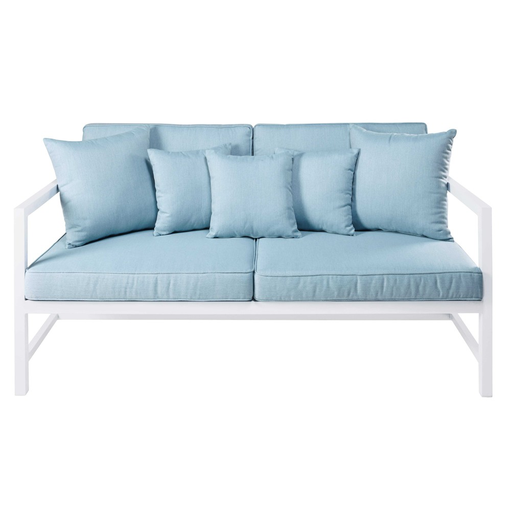 2 3 seater garden bench in white aluminium with light blue for Banquette indienne maison du monde