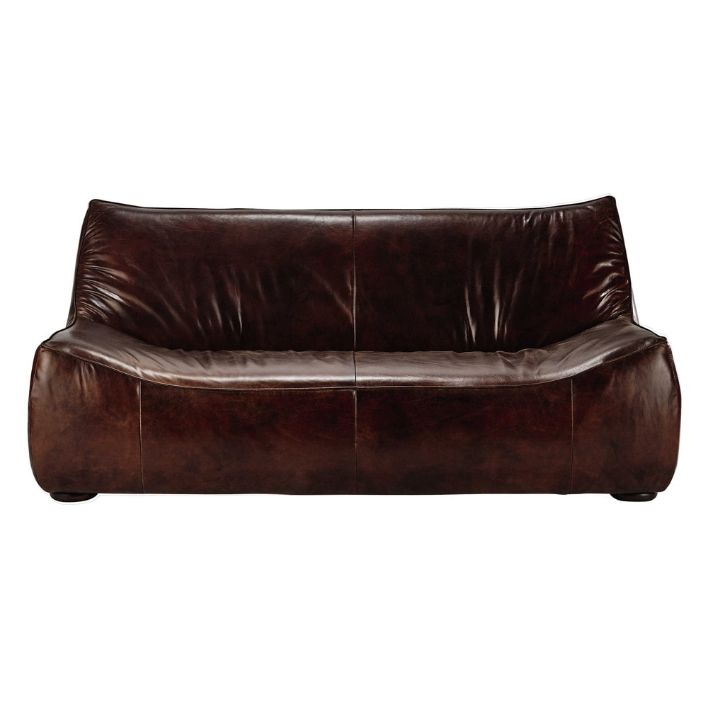2/3 seater leather sofa in brown George : Maisons du Monde