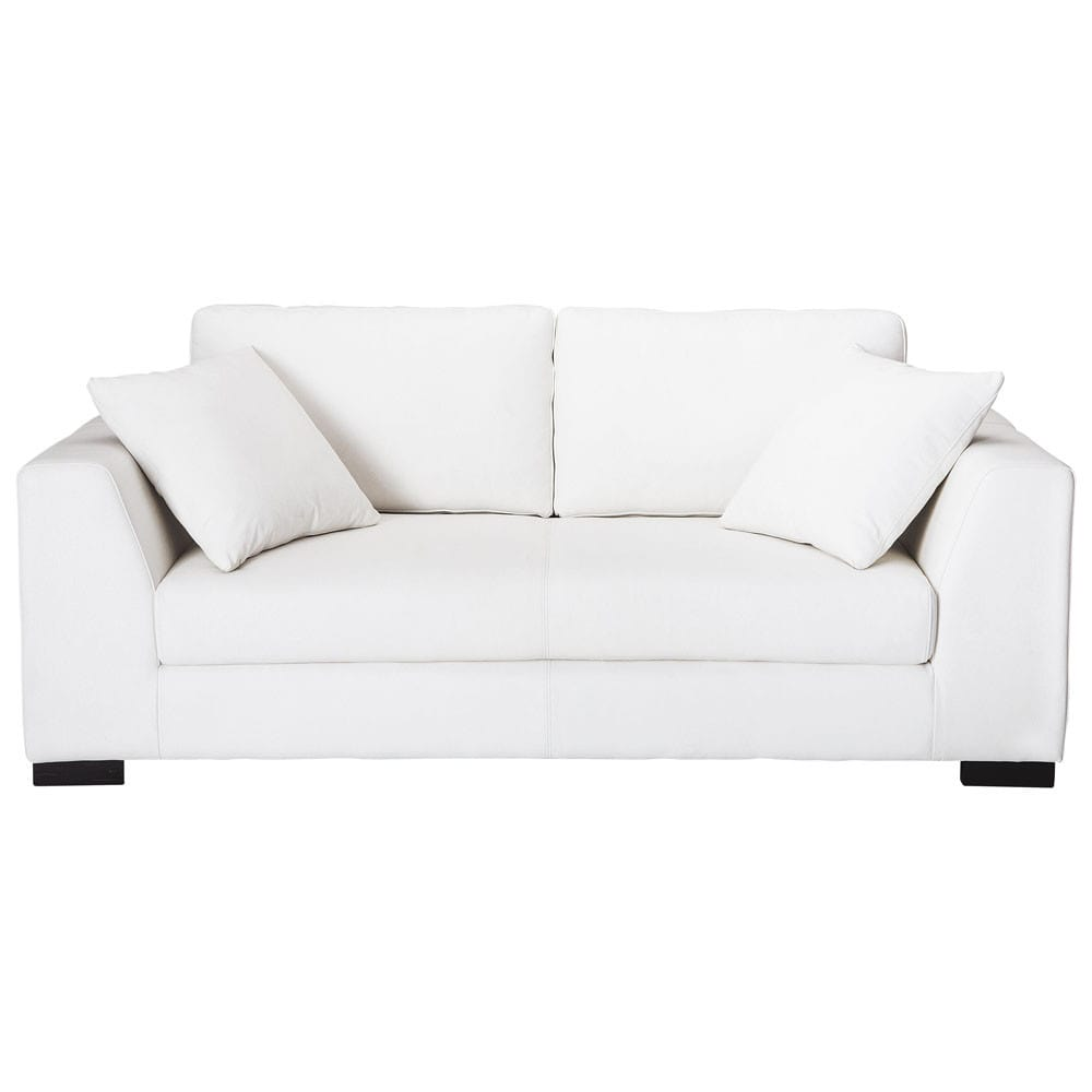 2 3 seater leather sofa in white terence maisons du monde. Black Bedroom Furniture Sets. Home Design Ideas